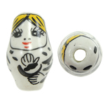 Beads bizhuteri Porcelani, Vajzë, shtypje, e bardhë, 13x22mm, : 3mm, 50PC/Qese,  Qese