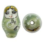 Beads bizhuteri Porcelani, Vajzë, shtypje, e gjelbër, 16x27mm, : 3mm, 50PC/Qese,  Qese