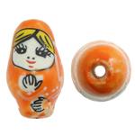 Beads bizhuteri Porcelani, Vajzë, shtypje, portokall, 16x27mm, : 2.5mm, 50PC/Qese,  Qese