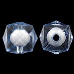 Bead në Beads akrilik Bead, Bicone, bead bead në, ngjyra të përziera, 13mm, : 2mm, 500PC/Qese,  Qese