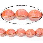 Beads pearlized Porcelani, Oval, i praruar, portokall, 20x14mm, : 2.5mm, 100PC/Qese,  Qese