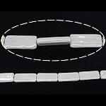Beads pearlized Porcelani, Drejtkëndësh, i praruar, e bardhë, 15x35x6.50mm, : 2.5mm, 100PC/Qese,  Qese