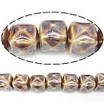 Beads pearlized Porcelani, Kub, i praruar, thellë të verdhë, 13-14x13-14mm, : 2.5mm, 100PC/Qese,  Qese