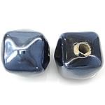 Beads pearlized Porcelani, Kub, i praruar, blu të errët, 13-14x13-14mm, : 2.5mm, 100PC/Qese,  Qese