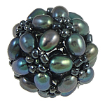 Ball Cluster Zuchtperlen, Natürliche kultivierte Süßwasserperlen, mit Glas-Rocailles, rund, schwarz, 17mm, verkauft von PC