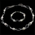 Natyrore kulturuar Pearl ujërave të ëmbla bizhuteri Sets, Pearl kulturuar ujërave të ëmbla, with Seed Glass Beads, Oriz, natyror, e bardhë, 7-8mm, :17Inç,  7.5Inç,  I vendosur