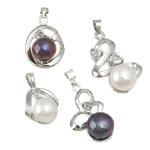 Pendants Pearl ujërave të ëmbla, Pearl kulturuar ujërave të ëmbla, with Kub kub & Alloy zink, Round Flat, natyror, ngjyra të përziera, 7-8mm, 20-32mm, : 2-3mm, 20Sets/Qese,  Qese
