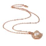 Ujërave të ëmbla Pearl gjerdan Zinxhiri tunxh, Pearl kulturuar ujërave të ëmbla, with Diamant i rremë & Tunxh, Round, natyror, rozë, 18x26mm, 12-13mm, :17Inç,  17Inç,