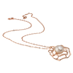 Ujërave të ëmbla Pearl gjerdan Zinxhiri tunxh, Pearl kulturuar ujërave të ëmbla, with Tunxh, Round, natyror, rozë, 31x30mm, 12-13mm, :17Inç,  17Inç,