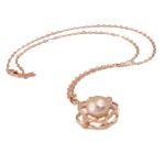 Ujërave të ëmbla Pearl gjerdan Zinxhiri tunxh, Pearl kulturuar ujërave të ëmbla, with Diamant i rremë & Tunxh, Round, natyror, rozë, 26x34mm, 12-13mm, :17Inç,  17Inç,