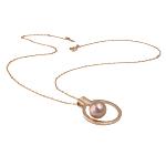 Ujërave të ëmbla Pearl gjerdan Zinxhiri tunxh, Pearl kulturuar ujërave të ëmbla, with Diamant i rremë & Tunxh, Round, natyror, rozë, 23x28mm, 10mm, :17Inç,  17Inç,