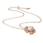 Ujërave të ëmbla Pearl gjerdan Zinxhiri tunxh, Pearl kulturuar ujërave të ëmbla, with Diamant i rremë & Tunxh, Round, natyror, e bardhë, 25x25mm, 11mm, :17Inç,  17Inç,