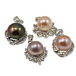 Pendants Pearl ujërave të ëmbla, Pearl kulturuar ujërave të ëmbla, with Tunxh, Round, natyror, ngjyra të përziera, 11-13.5mm, : 3-5mm, 10PC/Qese,  Qese
