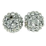 Beads diamant i rremë Rrëshirë, Rrëshirë diamant i rremë, Round, asnjë, me diamant i rremë, argjend, 14x16mm, : 2mm, 100PC/Qese,  Qese