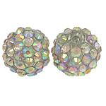 Beads diamant i rremë Rrëshirë, Rrëshirë diamant i rremë, Round, asnjë, me diamant i rremë, 14x16mm, : 2mm, 100PC/Qese,  Qese