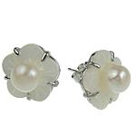 Një palë vathë Pearl ujërave të ëmbla, Pearl kulturuar ujërave të ëmbla, Lule, asnjë, e bardhë, 15mm, 10Çiftet/Qese,  Qese