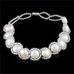 Kulturuar ujërave të ëmbla Pearl byzylyk, Pearl kulturuar ujërave të ëmbla, e bardhë, Një, 8-9mm, :7.5Inç, 10Fillesat/Qese,  Qese
