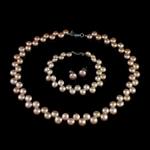 Natyrore kulturuar Pearl ujërave të ëmbla bizhuteri Sets, Pearl kulturuar ujërave të ëmbla, Round, natyror, rozë, 7-8mm, 8-9mm, :15.5Inç,  7Inç,  I vendosur