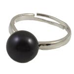 Ujërave të ëmbla Pearl Ring Finger, Pearl kulturuar ujërave të ëmbla, with Tunxh, e zezë, 10-11mm, : 18mm, :7.5, 10PC/Qese,  Qese