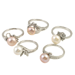 Ujërave të ëmbla Pearl Ring Finger, Pearl kulturuar ujërave të ëmbla, with Diamant i rremë & Tunxh, ngjyra të përziera, 8-9mm, : 18-19mm, 36PC/Kuti,  Kuti