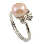 Ujërave të ëmbla Pearl Ring Finger, Pearl kulturuar ujërave të ëmbla, rozë, 8-9mm, : 18-19mm, 10PC/Qese,  Qese