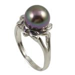 Ujërave të ëmbla Pearl Ring Finger, Pearl kulturuar ujërave të ëmbla, with Tunxh, Shape Tjera, asnjë, vjollcë e errët, 9-10mm, : 18mm, :7.5, 10PC/Qese,  Qese