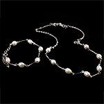 Natyrore kulturuar Pearl ujërave të ëmbla bizhuteri Sets, Pearl kulturuar ujërave të ëmbla, Round, e bardhë, 8-9mm, :16.5Inç,  7.5Inç,  I vendosur