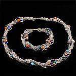 Natyrore kulturuar Pearl ujërave të ëmbla bizhuteri Sets, Pearl kulturuar ujërave të ëmbla, Oriz, natyror, ngjyra të përziera, 5-6mm, :17Inç,  7.5Inç,  I vendosur