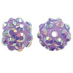 Beads diamant i rremë Rrëshirë, Rrëshirë diamant i rremë, Round, asnjë, me diamant i rremë, vjollcë, 12x14mm, : 2mm, 100PC/Qese,  Qese