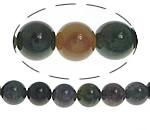 Manik-manik batu akik India alami, Putaran, 10mm, : 1mm, : 15Inci, 10Helai/Banyak,  Banyak