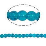 Glass Beads kërcitje, Xham, Round, asnjë, blu, 6mm, : 1.5mm, :31Inç, 140PC/Fije floku,  31Inç,