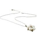 Ujërave të ëmbla Pearl gjerdan Zinxhiri tunxh, Pearl kulturuar ujërave të ëmbla, with Diamant i rremë & Tunxh, Round Flat, natyror, e bardhë, 8-9mm, 23x26x9mm, :16.5Inç,  16.5Inç,