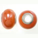 Porcelani Beads European, Rondelle, i praruar, core bronzi të dyfishtë pa karrem, portokall, 11-11.5x15-15.5mm, : 5mm, 100PC/Qese,  Qese