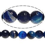 Achat Perlen, rund, facettierte, blau, 14mm, Bohrung:ca. 2mm, Länge:ca. 15 ZollInch, 5SträngeStrang/Menge, verkauft von Menge