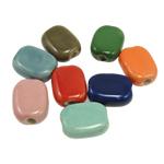 Beads xham porcelani, Drejtkëndësh, xham, ngjyra të përziera, 20x15x8mm, : 3mm, 100PC/Qese,  Qese