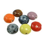 Beads xham porcelani, Monedhë, xham, ngjyra të përziera, 15x16x9mm, : 2mm, 100PC/Qese,  Qese