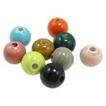 Beads xham porcelani, Oval, xham, ngjyra të përziera, 11x13mm, : 2.5mm, 200PC/Qese,  Qese