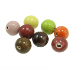 Beads xham porcelani, Round, xham, ngjyra të përziera, 16-17mm, : 2mm, 60PC/Qese,  Qese