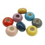 Beads xham porcelani, Rondelle, xham, ngjyra të përziera, 9x16mm, : 6mm, 100PC/Qese,  Qese