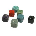 Beads xham porcelani, Kub, xham, ngjyra të përziera, 13mm, : 2mm, 100PC/Qese,  Qese