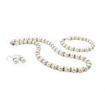Natyrore kulturuar Pearl ujërave të ëmbla bizhuteri Sets, Pearl kulturuar ujërave të ëmbla, with Diamant i rremë, Round, e bardhë, 8-9mm, 40x8mm, :16.5Inç,  7.5Inç,  I vendosur
