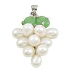 Pendants Pearl ujërave të ëmbla, Pearl kulturuar ujërave të ëmbla, with Tunxh & Alloy zink, Hardhi, natyror, e bardhë, 13x35mm, 6-7mm, : 3x5mm,  PC