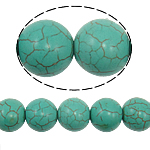 Türkis Perlen, Synthetische Türkis, rund, grün, 16mm, Bohrung:ca. 1mm, ca. 25PCs/Strang, verkauft per ca. 15 ZollInch Strang