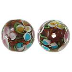 Beads dorë Lampwork, Round, lule e brendshme, 14mm, : 1mm, 100PC/Qese,  Qese