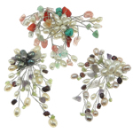 Natural Freshwater Pearl Brooch, flower, handmade, 65-80x88-98mm, Sold by PC