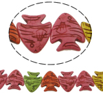 Bruz Beads, Bruz sintetike, Kafshë, ngjyra të përziera, 26x23x5mm, : 1mm, : 15Inç, 18PC/Fije floku,  15Inç,