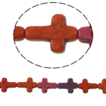 Bruz Beads, Bruz sintetike, Kryq, ngjyra të përziera, 16x12x4mm, : 1mm, :16Inç, 25PC/Fije floku,  16Inç,