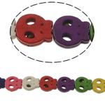 Türkis Perlen, Synthetische Türkis, Schädel, gemischte Farben, 13x15x4mm, Bohrung:ca. 1mm, ca. 27PCs/Strang, verkauft per ca. 15 ZollInch Strang