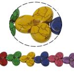 Bruz Beads, Bruz sintetike, Lule, ngjyra të përziera, 30x28x7mm, : 3mm, :16Inç, 16PC/Fije floku,  16Inç,