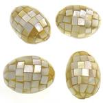 Beads Natyrore Shell Verdha, Oval, asnjë, i verdhë, 35-37x25-27mm, : 2mm, 10PC/Qese,  Qese